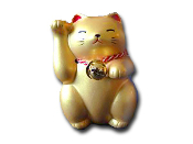 Gold Welcome Cat 3.5""