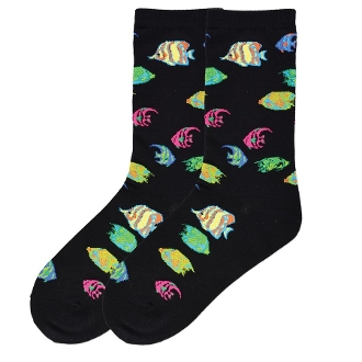 Colorful Fish Socks (Black)