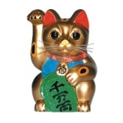 "Good Luck Money Cat 3"" (Gold)"