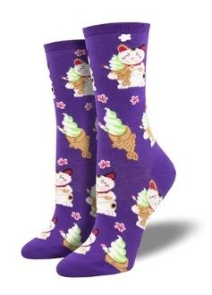 Taiyaki Cat Socks (Purple)